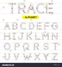 az rounded uppercase trace alphabet design stock vector 421994233