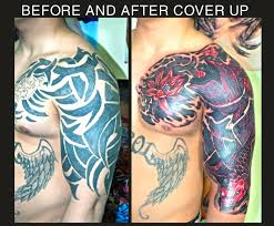 cover up tribal with koi and flowers