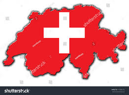 Swiss Map Outline Map Switzerland Covered Swiss Flag Stock Illustration
