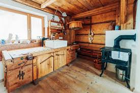 blue kitchen cabinets in cabin 70 rustic kitchen ideas inspiration photo post home