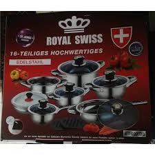 et cuisine casseroles batterie de cuisine inox 16 pcs royal swiss achat vente batterie