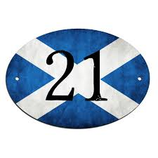 door house number name scottish flag sign plaque customised free