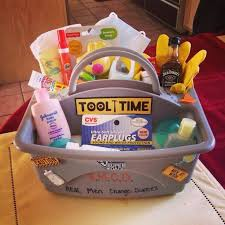 chagne gift basket baby toolbox for the new baby diapers