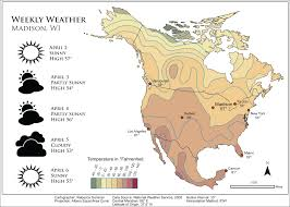 Weather Map North America by Rebecca Summer Maps