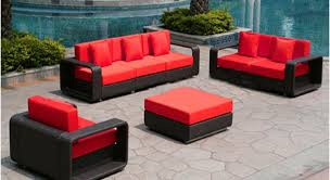 wicker patio set with red cushions wicker patio furniture