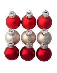 darice mini glass ball christmas ornaments 25mm 9 pack red silver