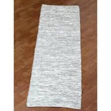 White Runner Rug Woven Matador White Leather Runner Rug 2 6 X 12 Our Home