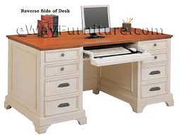 distressed white 66 inch executive home office desk