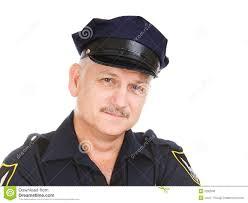 mature police man talking on walkie talkie stock photo image