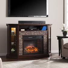 Electric Media Fireplace Harper Blvd Ratner Faux Stone Corner Convertible Infrared Electric