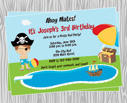 diy boy pirate pool birthday party invitation coordinating