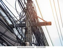 Messy Wires Popular Free Electric Pole Power Line With Messy Cable In Thailand