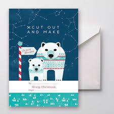 cut out and make polar bear christmas card make your own diy