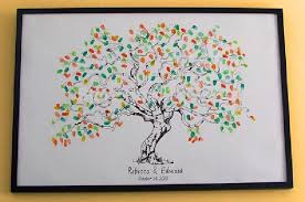 vintage wedding guest book personalize fingerprint wedding tree wedding guest book tree