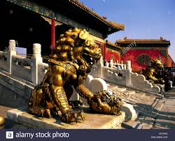 gold lion statue gold lion statue guards in forbidden city beijing china stock