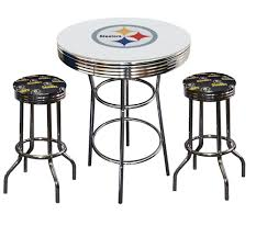 Glass Bar Table Steelers Logo Metal Chrome Bar Table Glass Top W 2 Swivel Bar Stools