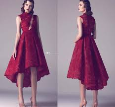 dark red women semi formal cocktail dresses high low high neck