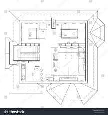 attic floor cottage architectural plan house stock vector