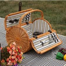 Picnic Basket Set For 2 Aliexpress Com Buy Portable Vintage Wicker Picnic Basket Set For