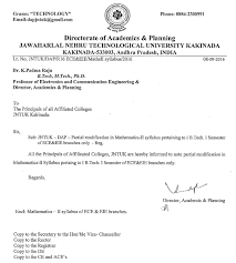 jntuk partial modification in mathematics ii syllabus for b tech 1