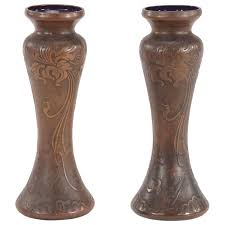 pair of signed val saint lambert amethyst art nouveau vases with