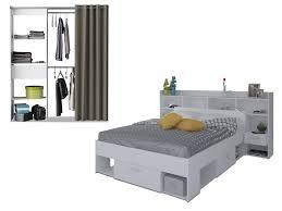 chambre lit pack chambre kylian lit armoire dressing blanc
