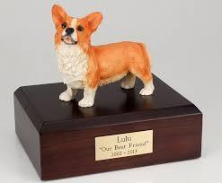 dog cremation corgi dog cremation figurine urn w wooden storage box