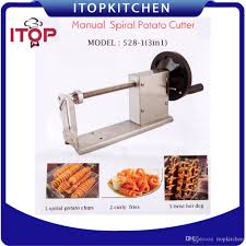 itop korean tornado potato slicer manual twist spiral potato
