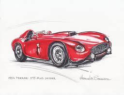 classic ferrari convertible classic car print 1954 ferrari 375 red car drawing racing car