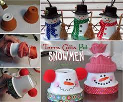 how to make terracotta pot snowmen for christmas or winter