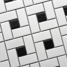 11 square feet black and white brick ceramic mosaic tile kitchen