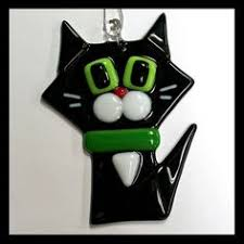 glass cat ornaments glas ornament glass and