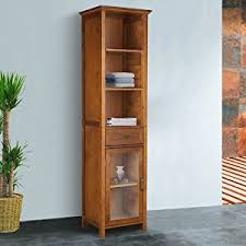 amazon com the oak finish linen tower bathroom storage cabinet