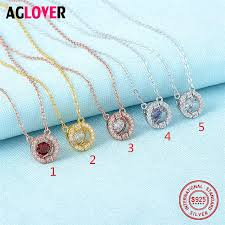 jewelry crystal necklace silver images Aaa crystal necklace 925 silver women 39 s round pendant necklace jpg