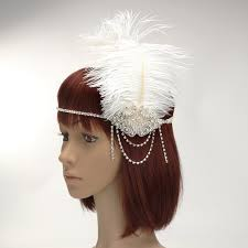flapper headband diy white feather flapper headband with rhinestone chain pearl