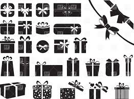 boxes with bows pictograms of gift boxes with bows and ribbons vector clipart