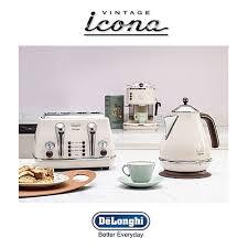 Delonghi Icona Toaster Green Delonghi Icona Vintage Kettle U0026 Toaster Set Cream Kbov3001bg