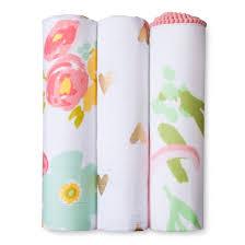 muslin swaddle blankets floral 3pk cloud island pink target