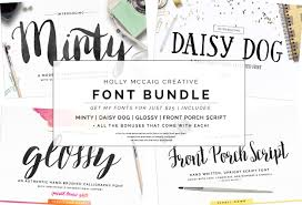 holly font bundle brush scripts script fonts creative market