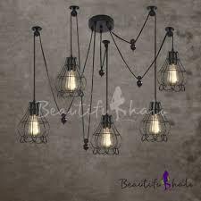 five light pendant industrial style five light multi light pendant with petal cage