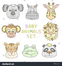 childish cartoon style baby animals cute stock vector 627439697