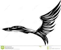 vector sketch of jet fighter with eagle wings royalty free stock