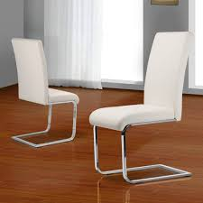 Faux Leather Dining Chairs With Chrome Legs 2 X Faux Leather Dining Room Chair Modern High Back U0026chrome Legs
