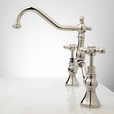 polished nickel kitchen faucets elnora bridge bathroom faucet cross handles bathroom