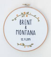 custom wedding name u0026 date embroidered hoop art home decor