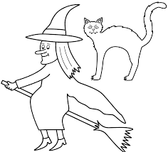 witch on broom with black cat coloring page halloween