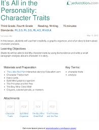 identifying character traits lesson plan education com