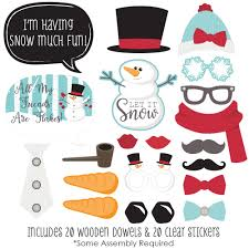 christmas photo booth props let it snow snowman christmas photo booth props kit