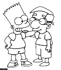 the simpsons bart simpson and milhouse van houten coloring page