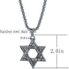 star chain necklace images Vintage jewish star tribal ethnic pendant stainless steel jpg